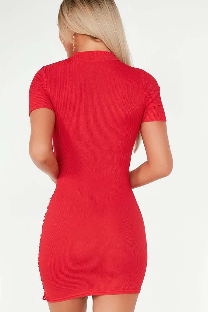 Alexa Red Ribbed Highneck Ruched Dress