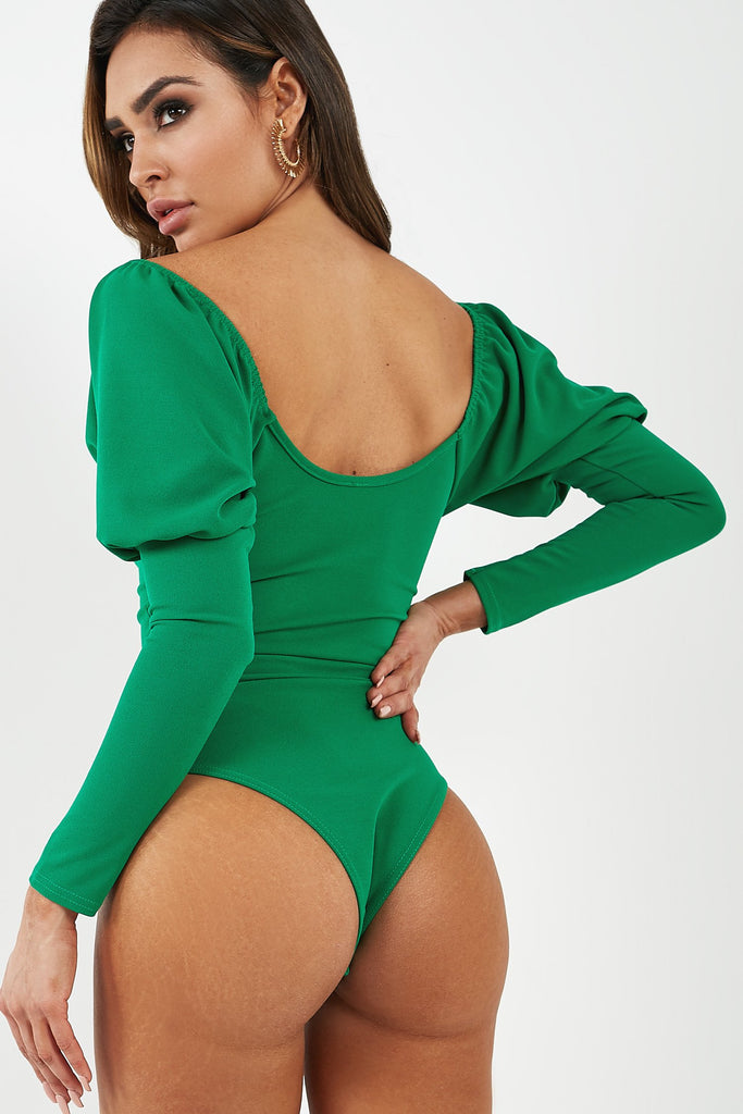 Alexi Green Scoop Neck Bodysuit (4308904509506)