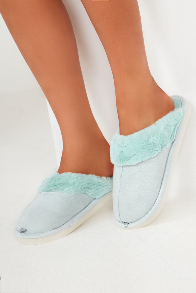 Alexis Mint Backless Fur Trim Slippers