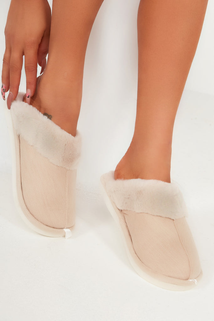 Alexis Nude Backless Fur Trim Slippers