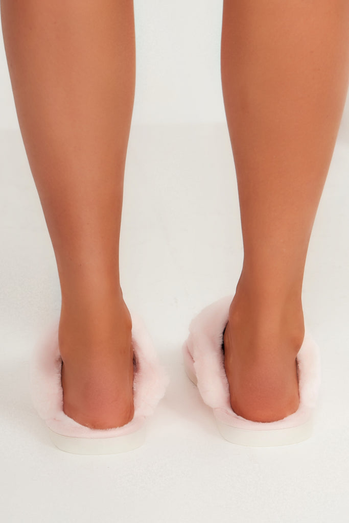 Alexis Pink Backless Fur Trim Slippers