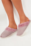 Alexis Purple Backless Fur Trim Slippers