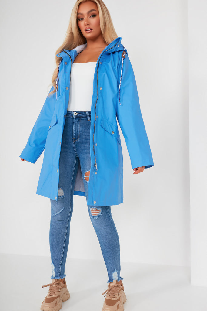 Ali Longline Blue Hooded Rain Mac