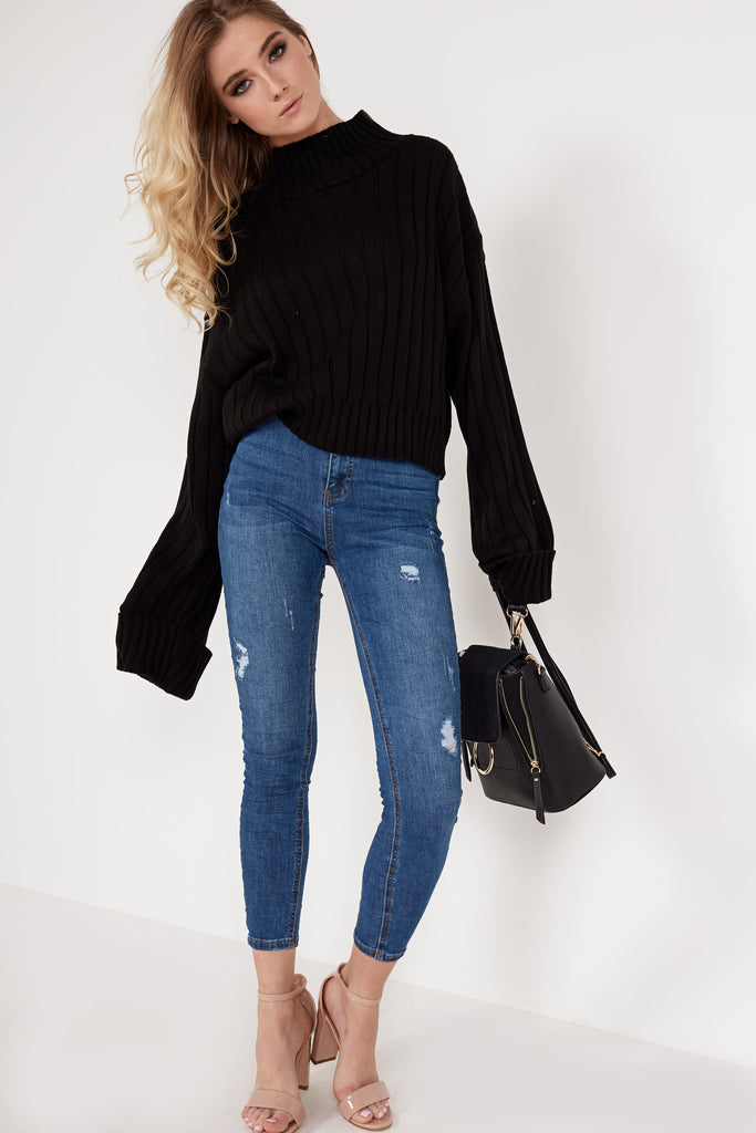 Alice Black Ribbed Funnel Neck Jumper