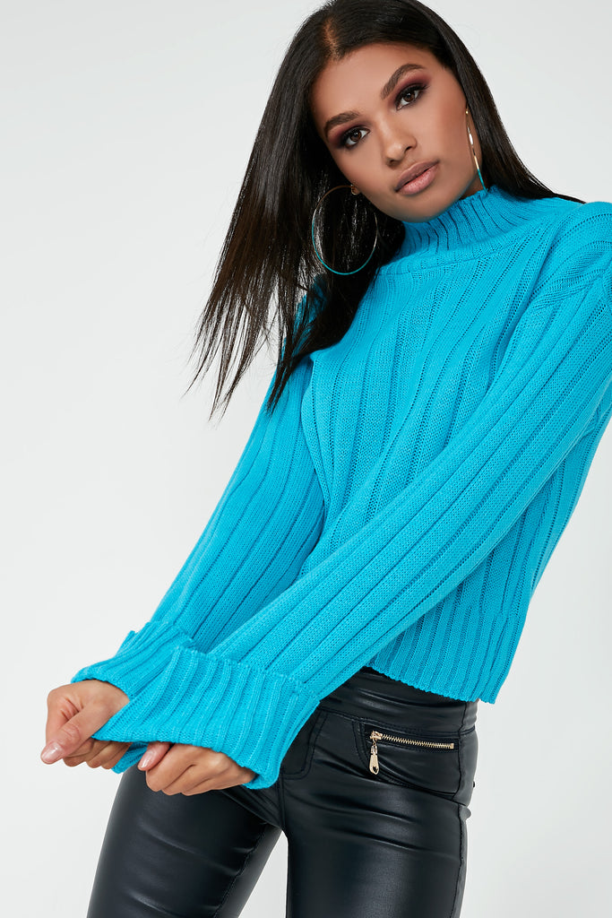 Alice Blue Ribbed Funnel Neck Jumper