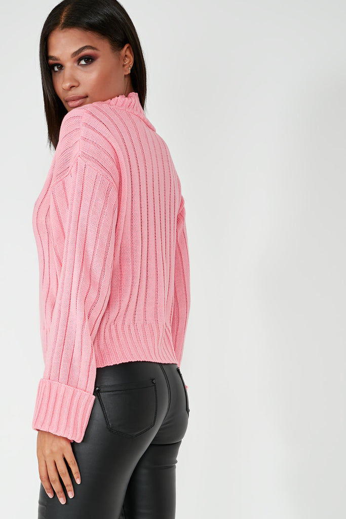 Alice Bubblegum Pink Ribbed Funnel Neck Jumper