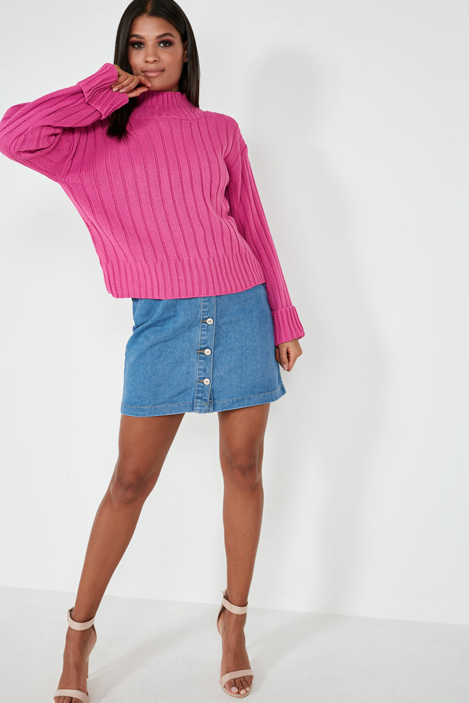 Alice Fuchsia Ribbed Funnel Neck Jumper