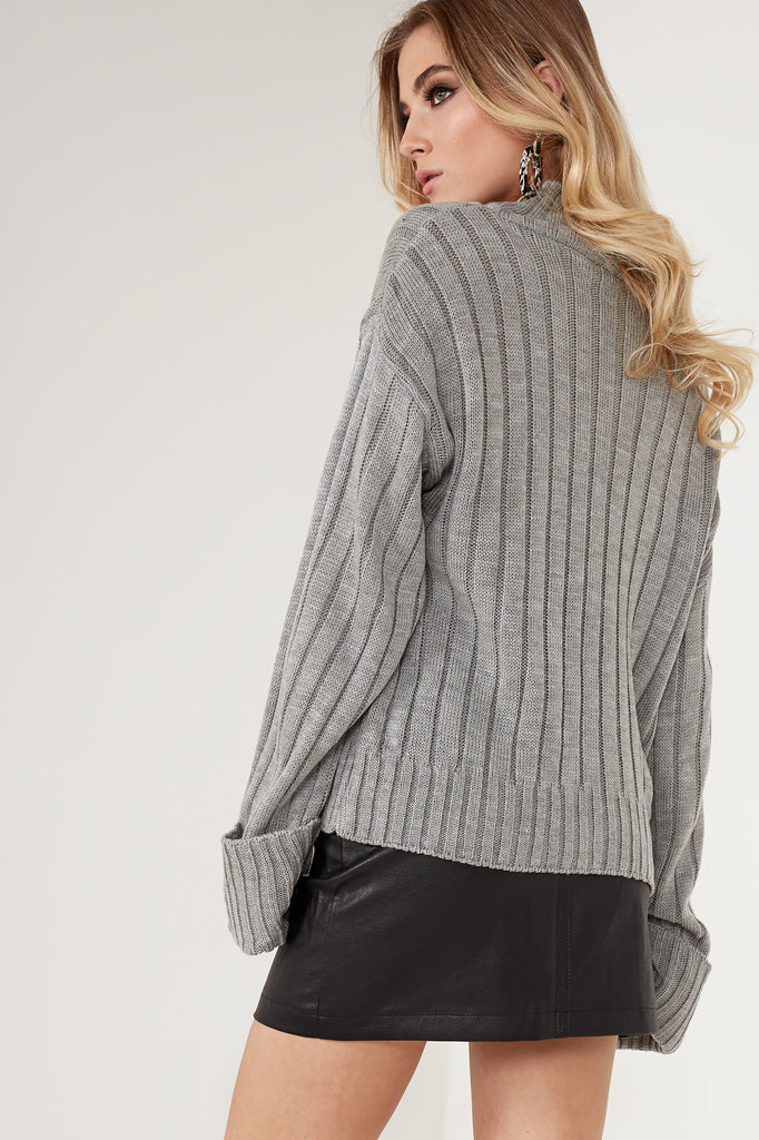 Alice Grey Ribbed Funnel Neck Jumper