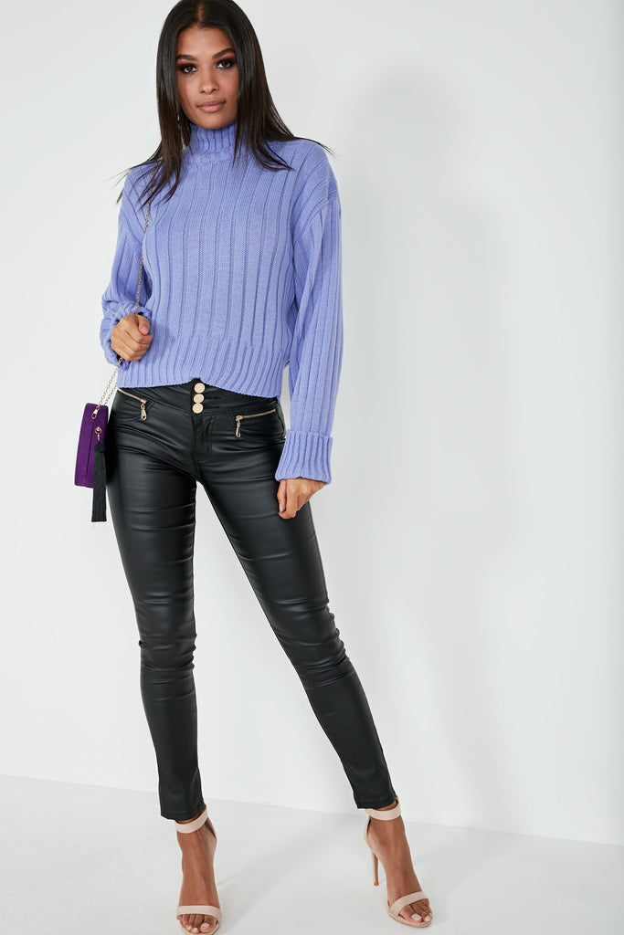 Alice Lilac Ribbed Funnel Neck Jumper