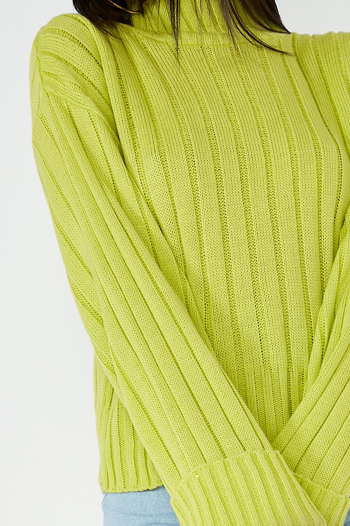 Alice Lime Ribbed Funnel Neck Jumper