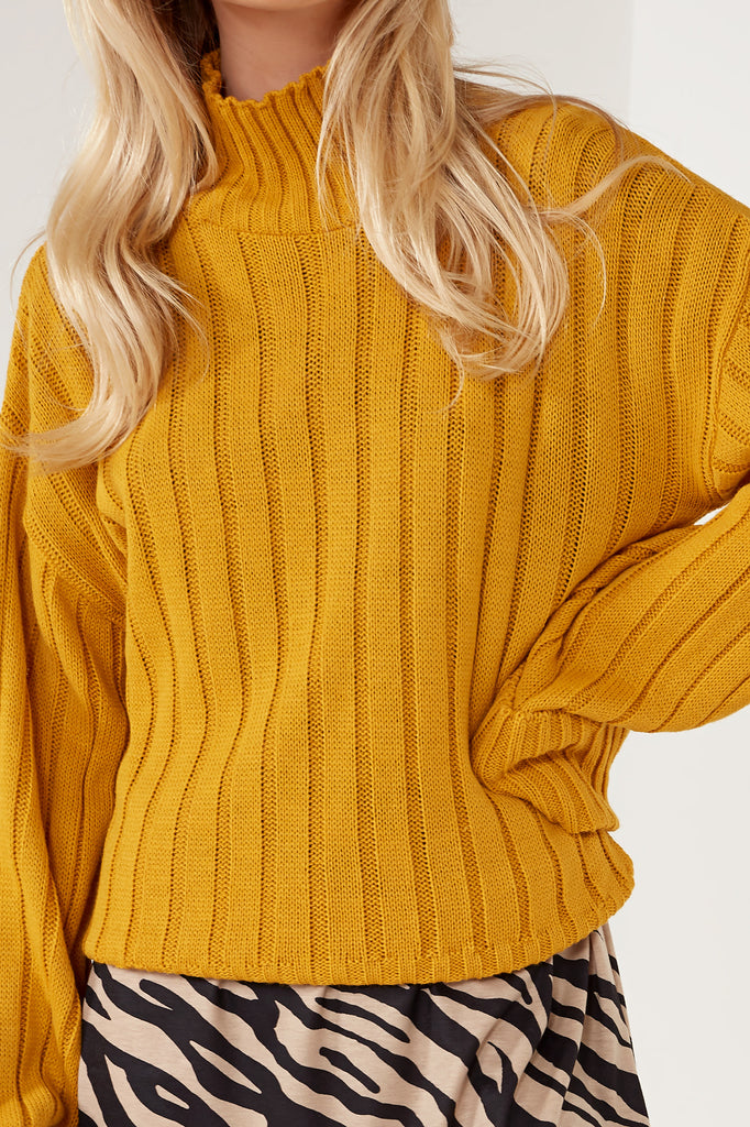 Alice Mustard Ribbed Funnel Neck Jumper