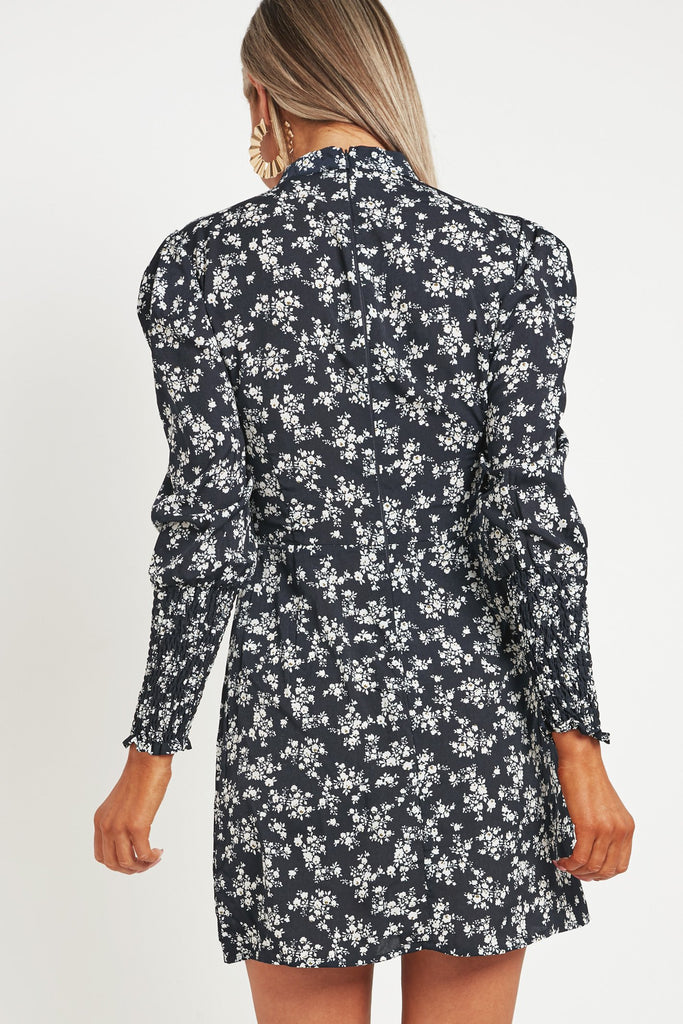 Alice Navy Ditsy Print Puff Sleeve Dress