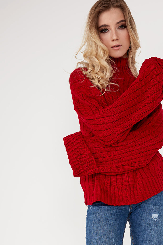 Alice Red Ribbed Funnel Neck Jumper