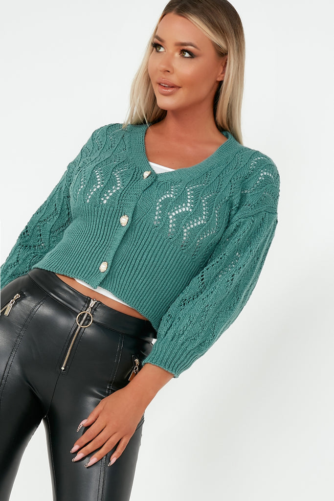 Alice Teal Pearl Button Open Knit Cardigan