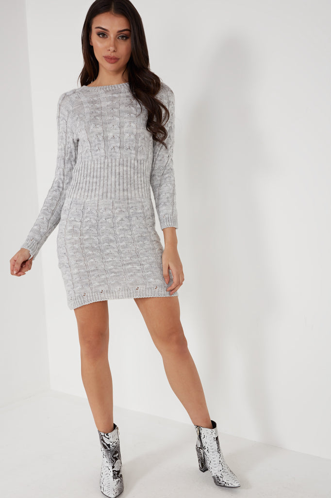 Alicia Grey Cable Knit Dress