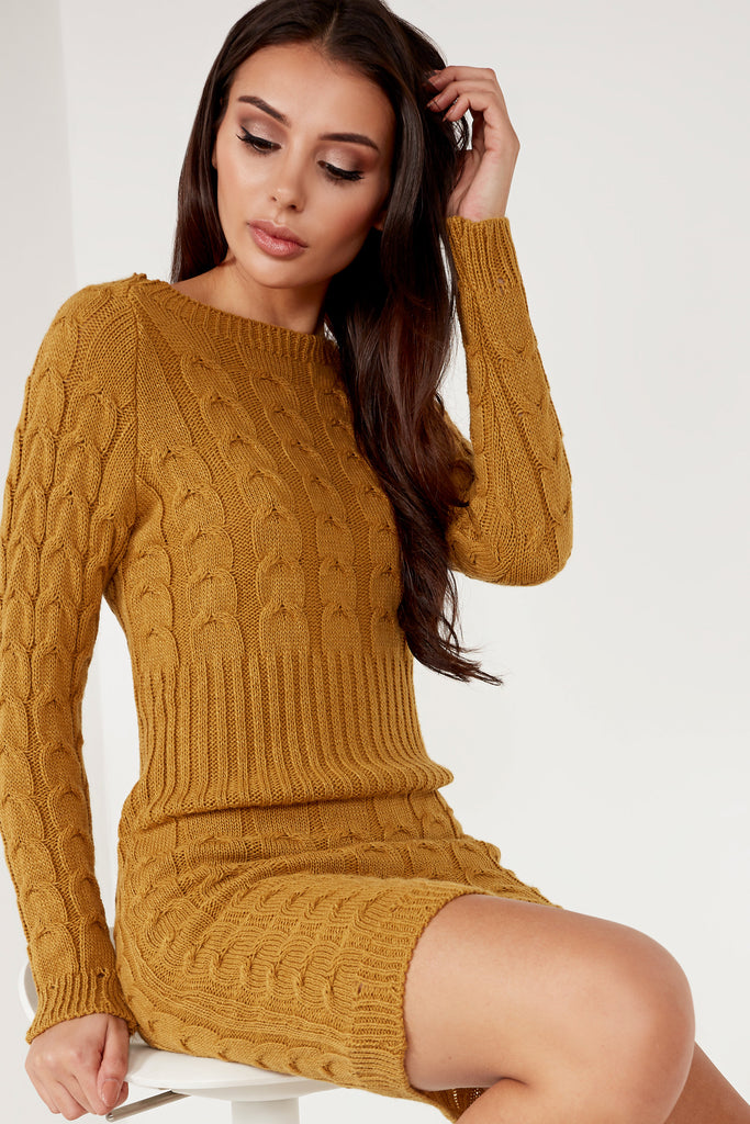 Alicia Mustard Cable Knit Dress