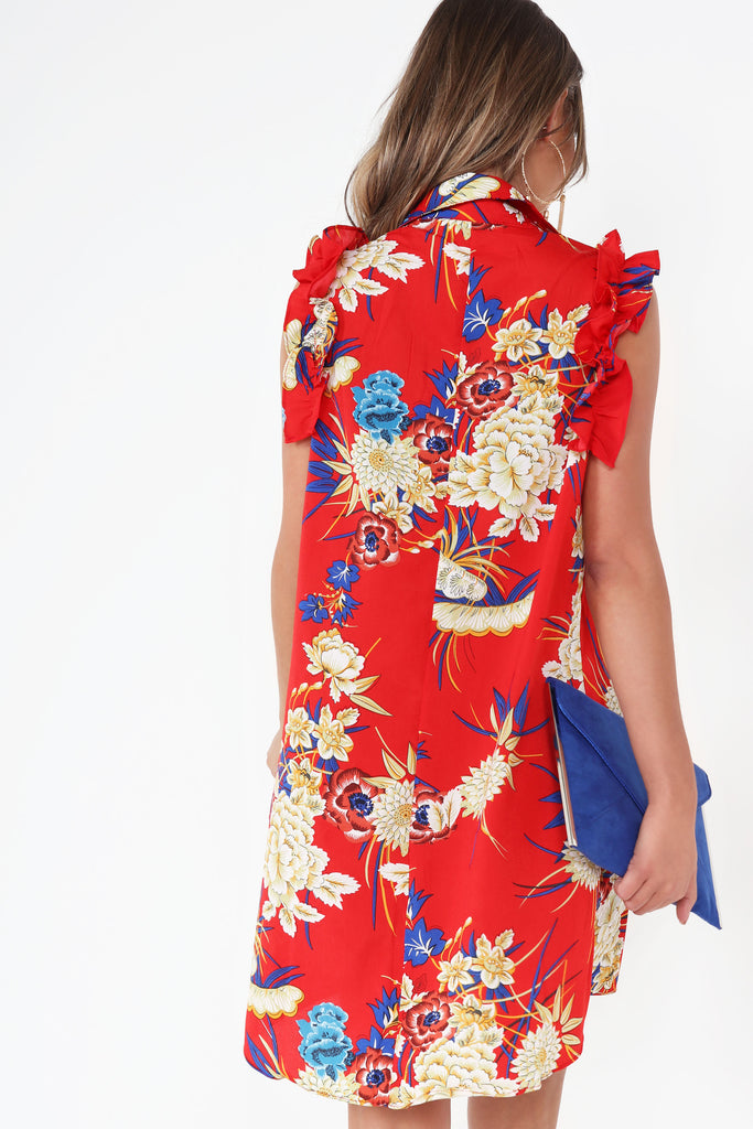 Alicia Red Floral Sleeveless Shirt Dress