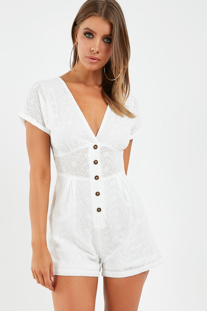 Alicia White Broiderie Anglais Playsuit
