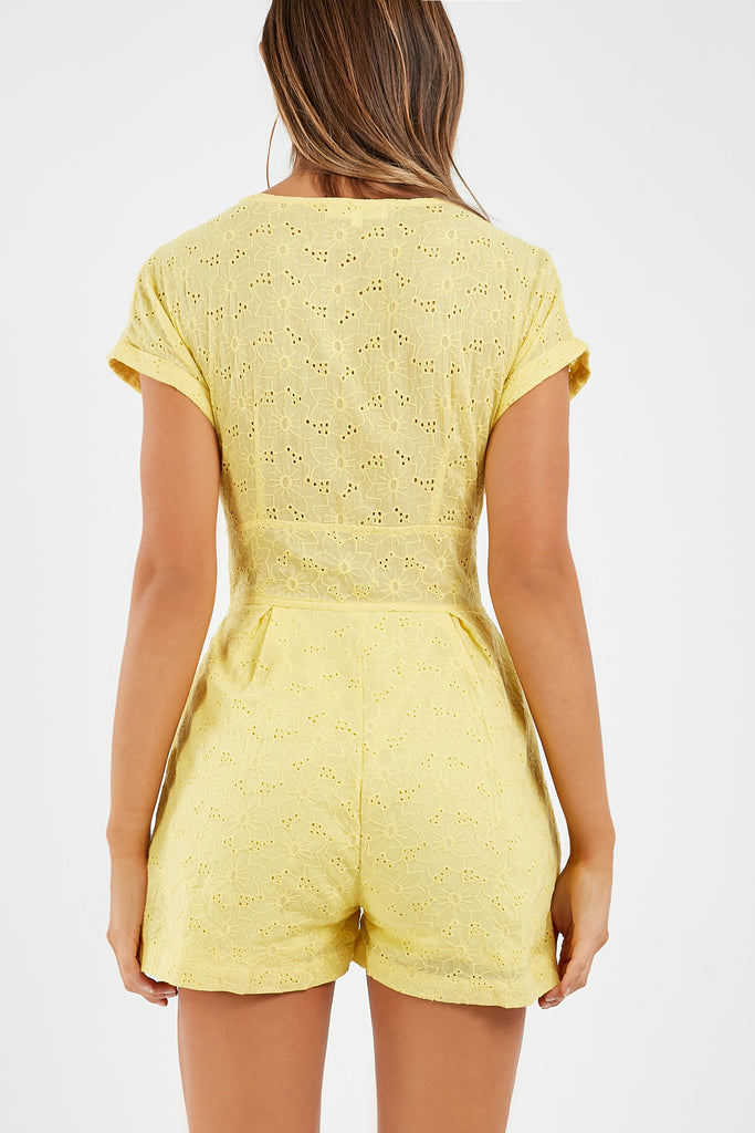 Alicia Yellow Broiderie Anglais Playsuit (1893396873282)