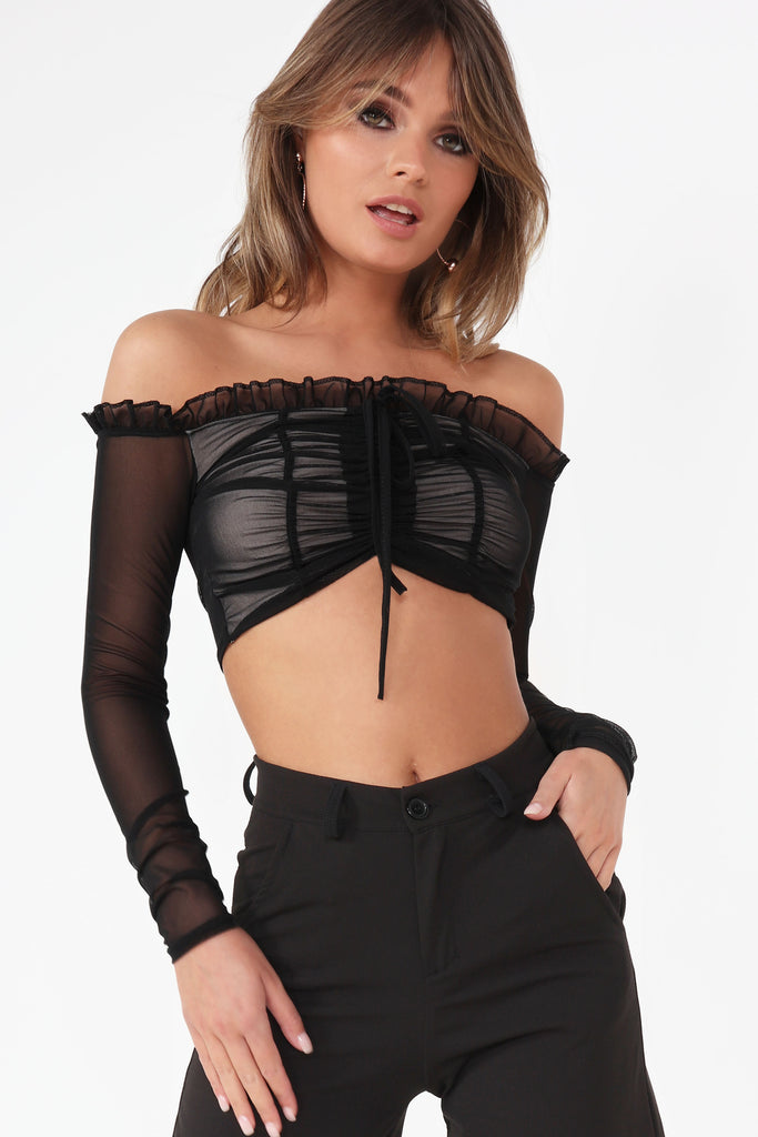Alina Black Ruched Front Crop Top