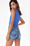Alisa Blue Mid Wash Denim Shorts