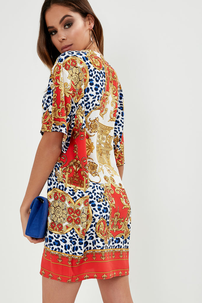 Alisa Red Mixed Print Tunic