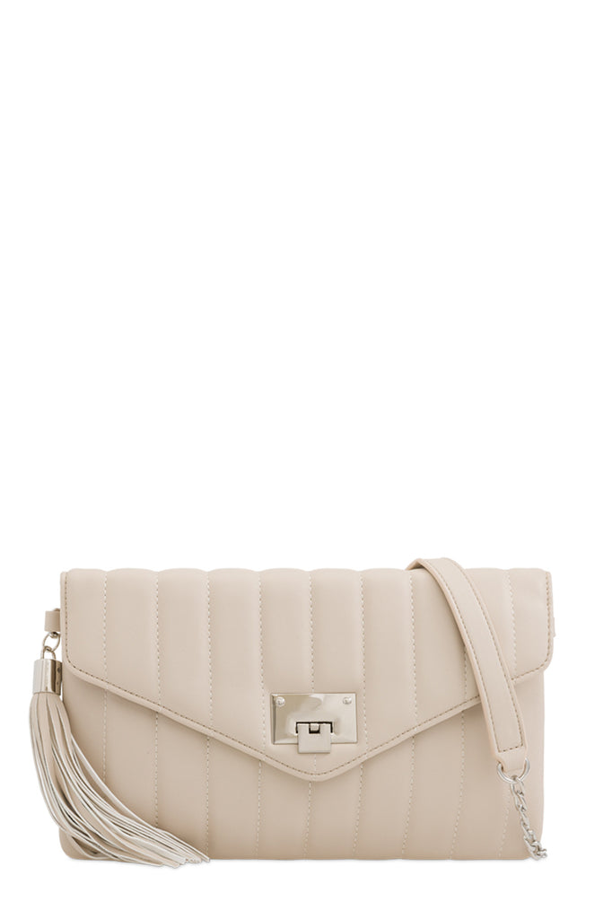 Alison Beige Quilted Leatherette Bag (1482047684674)