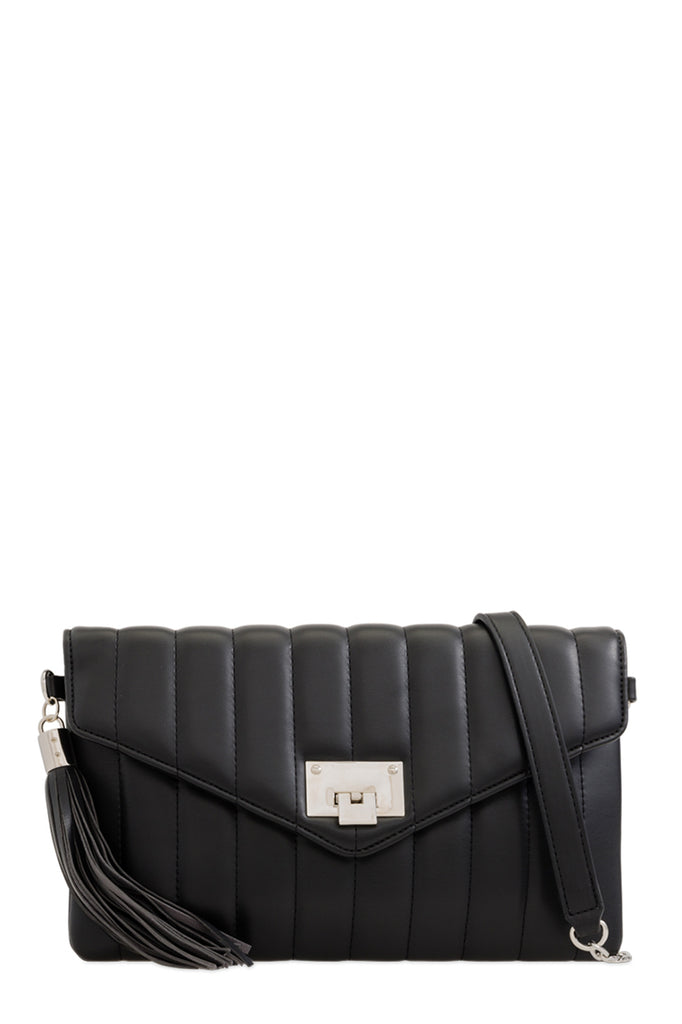 Alison Black Quilted Leatherette Bag