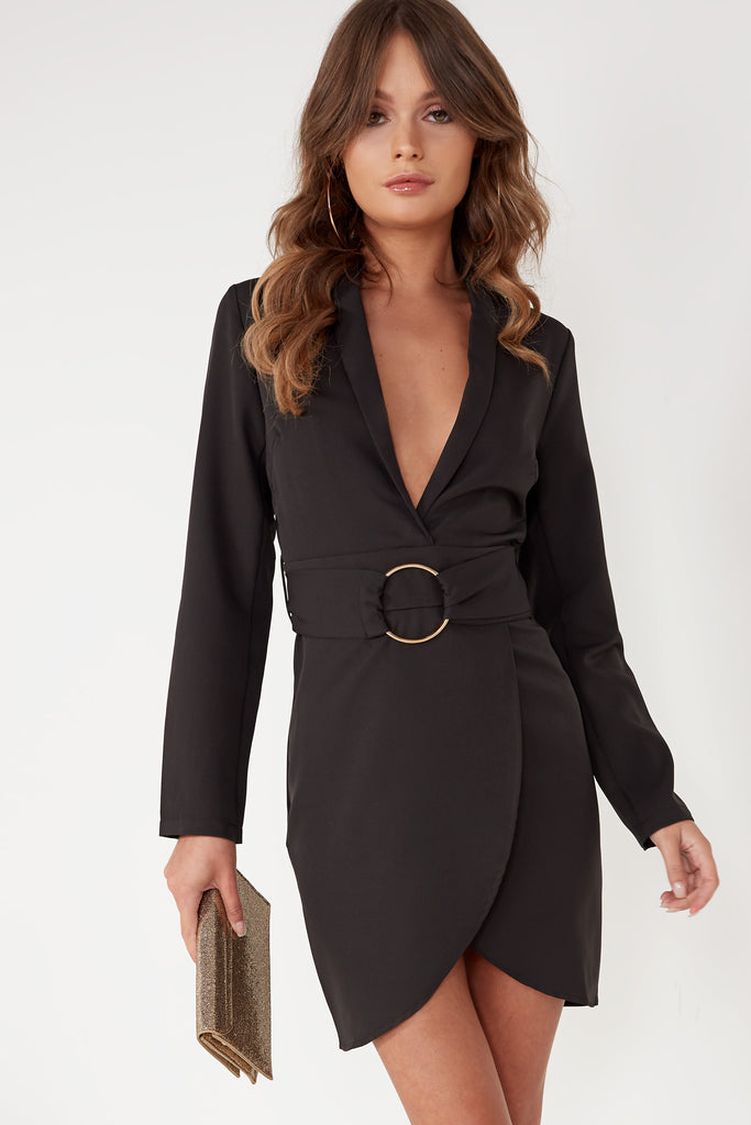 Aliya Black Blazer Ring Belt Dress