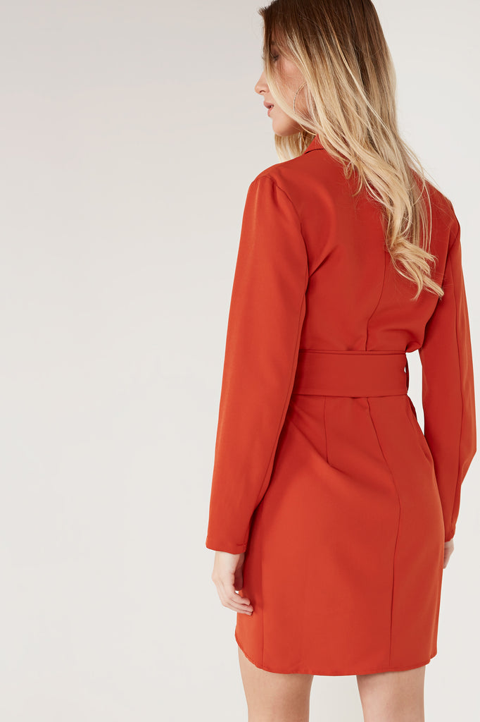Aliya Rust Blazer Ring Belt Dress