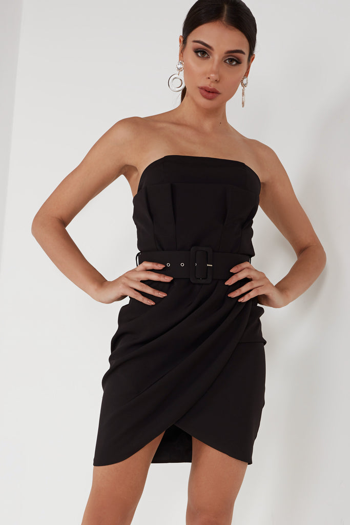 Allie Black Belted Bandeau Dress