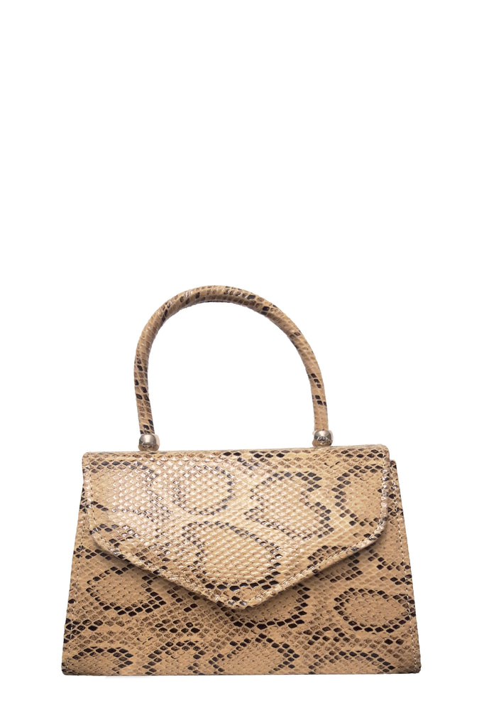 Alma Nude Snakeskin Print Structured Box Bag