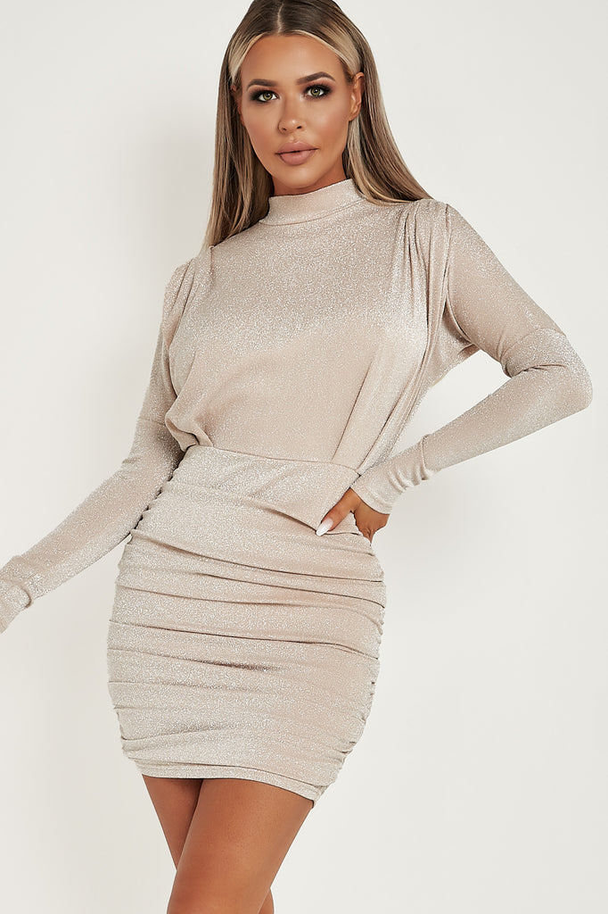 Alora Champagne Ruched High Neck Sparkle Dress