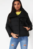 Alysha Black Wrap Padded Jacket