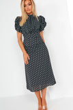 Alyssa Black Polka Dot Puff Sleeve Midi Dress