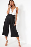Amal Black Wide Leg Crop Trousers