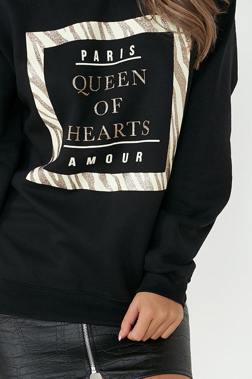 Amada Black 'Queen of Hearts' Sweatshirt