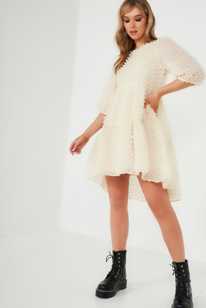 Amanda Cream Textured Mesh Frill Dress