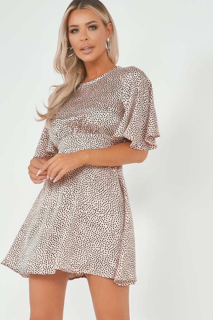 Amaya - Pink Spotted High Neck Satin Dress