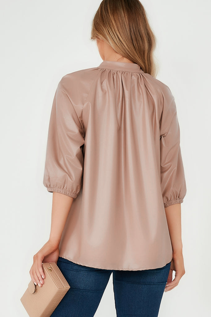 Amaza Nude Pu Button Neck Top