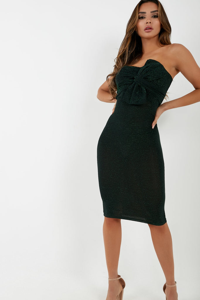 Amber Green Knot Front Strapless Dress (4294695354434)