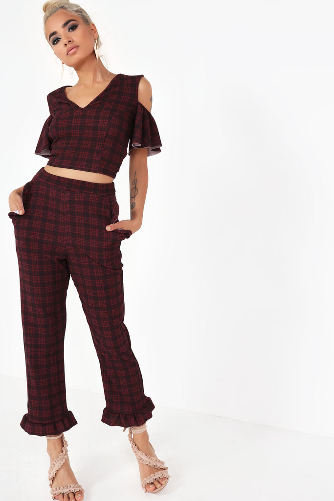 Ameila Wine Check Crop Top