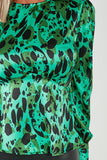 Ami Green Satin Animal Print Peplum Hem Top