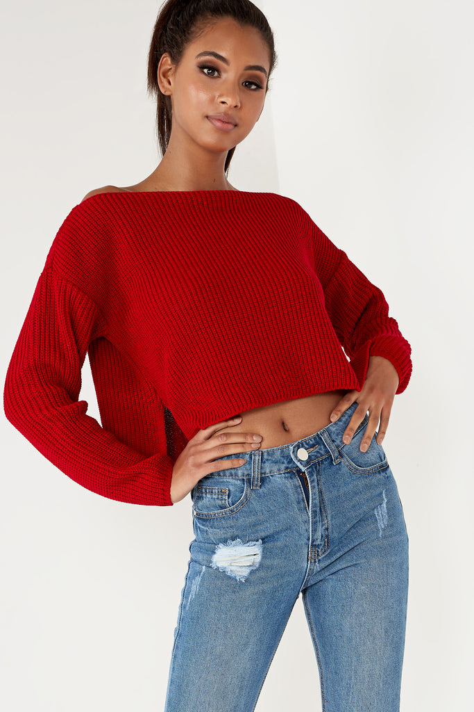 Aminka Red Knit Boat Neck Jumper