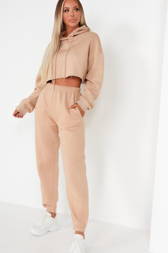 Amy Camel Crop Hoodie Jogger Co Ord