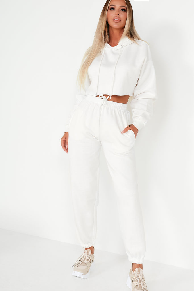 Amy White Crop Hoodie Jogger Co Ord