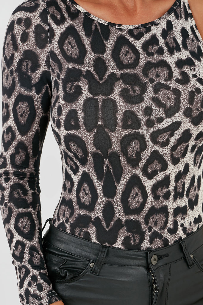 Anais Grey Leopard One Sleeve Bodysuit