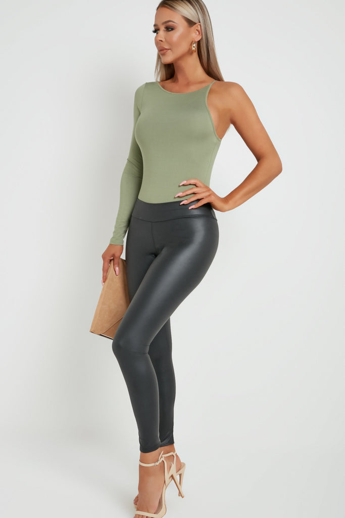 Anais Khaki One Sleeve Bodysuit