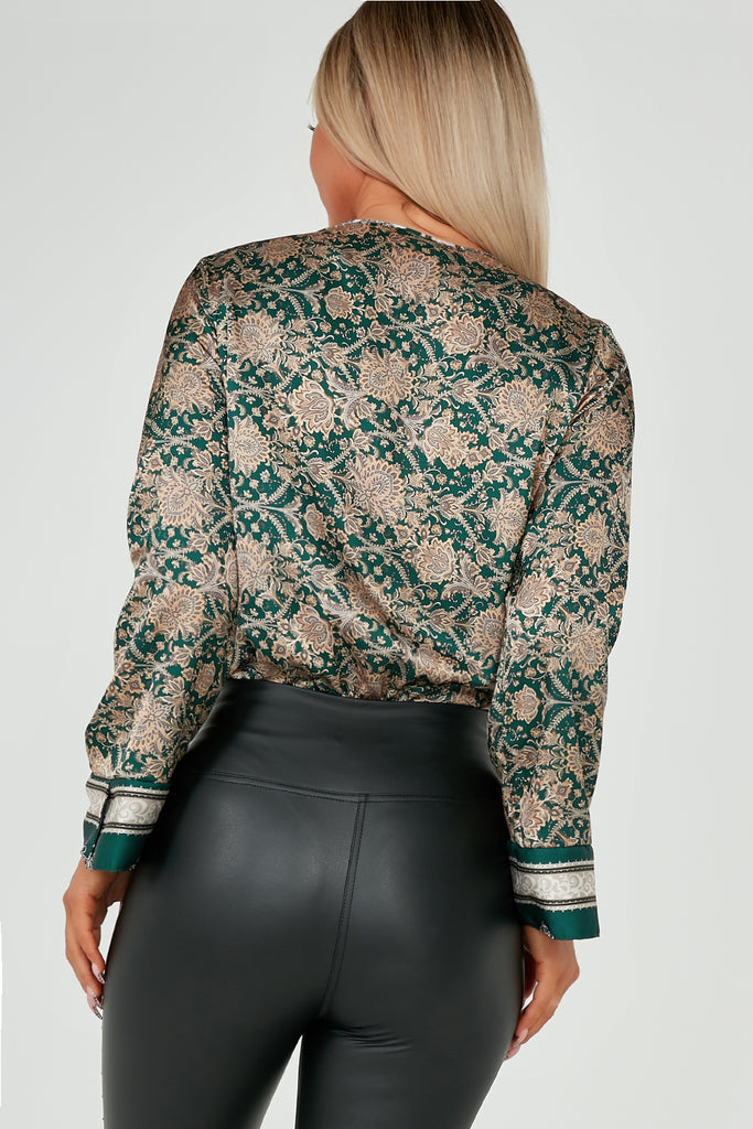 Analise Green Paisley Wrap Satin Bodysuit