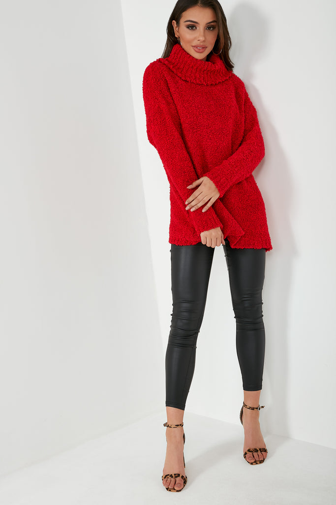 Andrea Red Knit Oversized Jumper